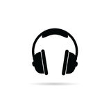 Headphones black and white vector Royalty Free Stock Photos