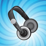Headphones on blue Royalty Free Stock Photos