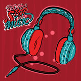 Headphones blue on a red background Stock Photo