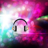 Headphones  on  bokeh   Colorful elegant on abstract background Royalty Free Stock Photography