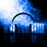 Headphones  on  bokeh  Colorful elegant on abstract background. Headphones  on  bokeh   Colorful elegant on abstract background Royalty Free Stock Image