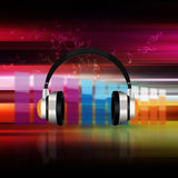 Headphones  on  bokeh   Colorful elegant on abstract background Stock Photos