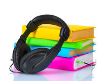 Headphones on books Royalty Free Stock Image