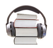 Headphones and books Stock Image