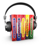 Headphones and  books Stock Images