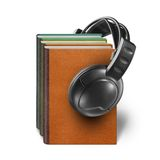 Headphones with books  on white Royalty Free Stock Photo
