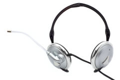 Headphones with a boom microphone Royalty Free Stock Photos