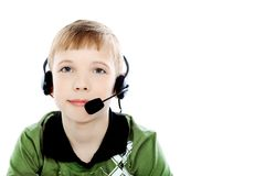 Headphones on a boy Stock Image