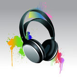 Headphones Brush paint. With colorful splashes Royalty Free Stock Photography