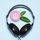 Relaxing music with nature sounds concept. Headphones and burning candle with green leaves. Relaxing music with nature sounds concept Royalty Free Stock Images