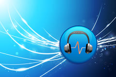 Headphones Button on Blue Abstract Light Background Royalty Free Stock Photography