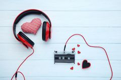 Headphones and cassette tape royalty free stock photography
