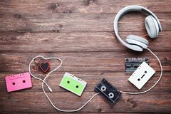 Headphones and cassette tapes stock image