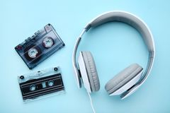 Headphones and cassette tapes royalty free stock image
