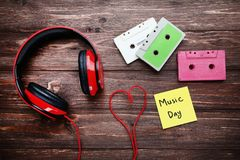 Headphones with cassette tapes royalty free stock image