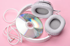 Headphones and CD stock photo