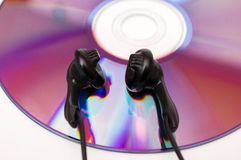 Headphones with cd Royalty Free Stock Photos