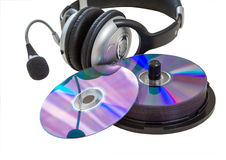 Headphones, CD Royalty Free Stock Image