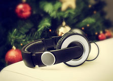 Headphones with christmas tree. Royalty Free Stock Photography