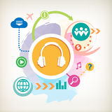 Headphones and cloud on abstract colorful watercolor background Royalty Free Stock Photography