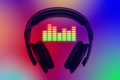 Headphones with color equalizer Royalty Free Stock Photos