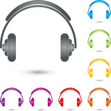 Headphones in color, headphones and music logo Royalty Free Stock Image