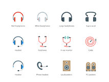 Headphones color icons on white background Royalty Free Stock Photos