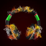 Headphones in the colored smoke Stock Photos