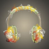 Headphones in the colored smoke Royalty Free Stock Image