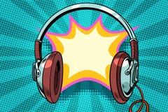Headphones comic bubble audio. Pop art retro vector illustration royalty free illustration
