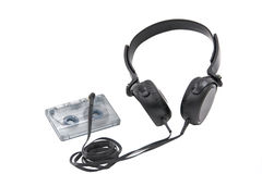 Headphones with compact cassette Royalty Free Stock Images