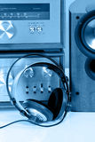 Headphones connected to vintag audio stereo Stock Photo