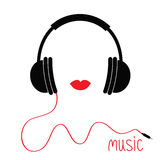 Headphones with cord. Red lips Music card. Flat design icon White background Isolated Stock Image