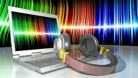 Headphones with laptop computer - 3D rendering video royalty free illustration
