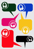 Headphones Dialog Bubbles Stock Image