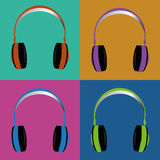 Headphones. Different headphones on squares with different color Royalty Free Stock Photos
