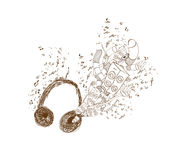 Headphones doodle art background Stock Images