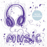 Headphones doodle. Beautiful sketch doodle headphones and word music of sloppy lines Royalty Free Stock Image