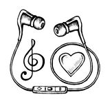 Headphones doodle sketch. Style with musical notes and heart. Hand drawing vector illustration vector illustration