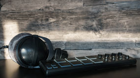 Headphones. With Drumpad and Wood Stock Images