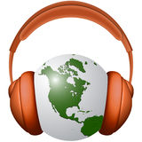 Headphones and earth Royalty Free Stock Images
