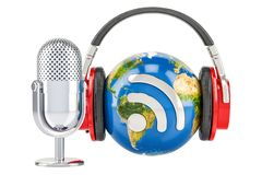 Headphones on the Earth globe and mic with RSS logo podcast, 3D. Headphones on the Earth globe and mic with RSS logo podcast Stock Images