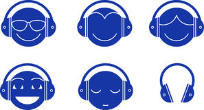 Headphones Emotions. A Set of 5 different heads of different types and emotions wearing headphones and listening to music. Also there is just the headphones. Can Royalty Free Stock Photos