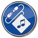 Headphones enjoyment, and music. Sign headphones enjoyment, and music Stock Image