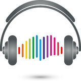 Headphones and equalizer, music and entertainment logo stock illustration