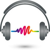 Headphones and equalizer, music and entertainment logo Royalty Free Stock Photos