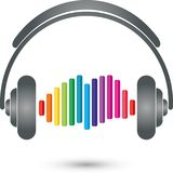 Headphones and equalizer, music and sound logo Stock Images