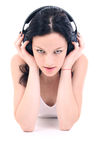 Headphones face. Listening nice music Stock Photos