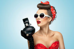 The headphones fashion. Royalty Free Stock Photography