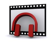 Headphones on filmstrip  Royalty Free Stock Images